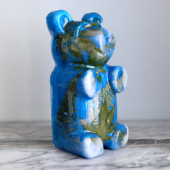 Blue Bear with Leaves