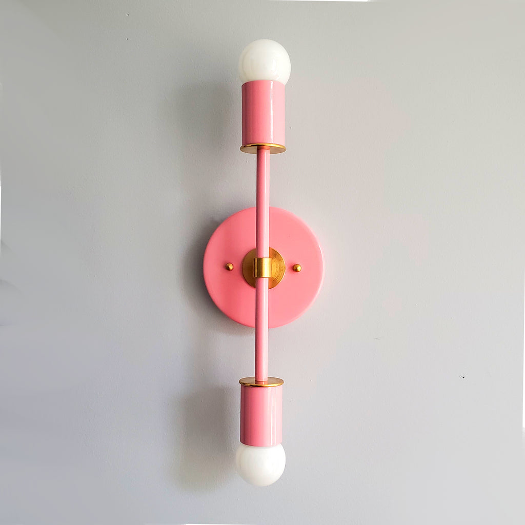 Pink & Brass Wall sconce with brass accents by Sazerac Stitches