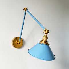 Brass and Hydrangea blue modern adjustable cone task light