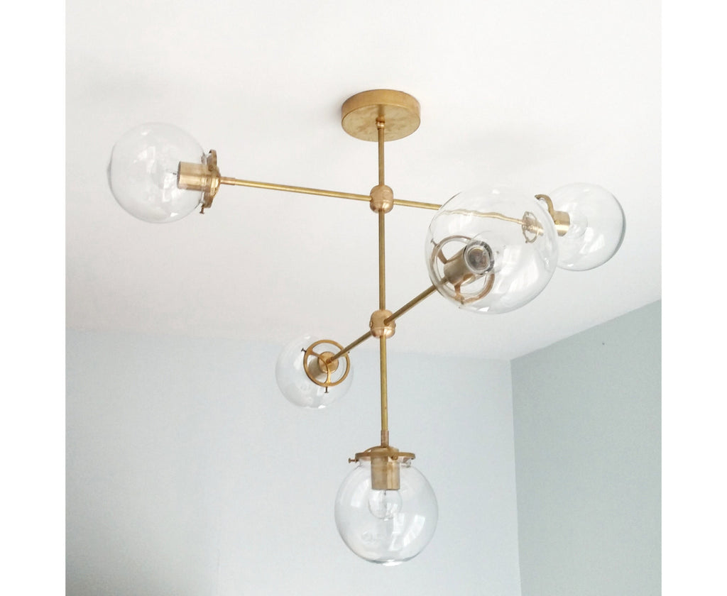 Cabildo Chandelier: Large Brass or Chrome and Glass modern chandelier