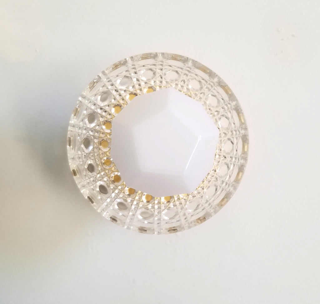 Crystal wall sconce or ceiling fixture German cut crystal with brass accents