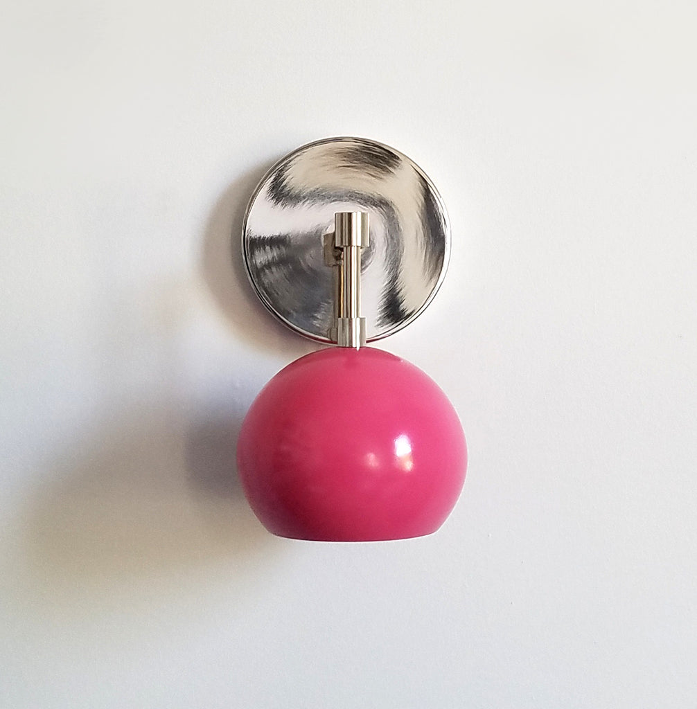 Bright Pink and Chrome modern wall sconce