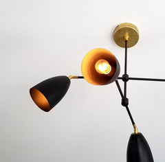 black and brass modern chandelier mid-century inspired MCM sazerac stitches