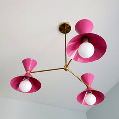 bright pink and brass midcentury modern style cone chandelier