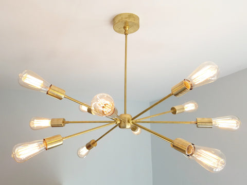 Elsie Chandelier: large modern brass or chrome sputnik chandelier