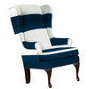 navy blue and white striped chair with nailhead trim modern design upholstered nursery chair formal living room nautical design