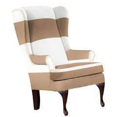 taupe and white striped chair with nailhead trim modern design upholstered nursery chair formal living room