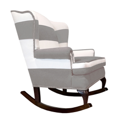 grey and white traditional striped rocking chair nailhead trim modern rocking chair nursery decor home decor