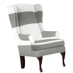 silver grey and white traditional wingback chair striped modern furniture