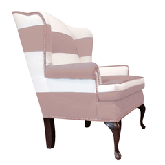 pink and white striped chair with nailhead trim modern design upholstered nursery chair formal living room