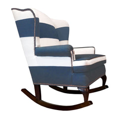 navy and white traditional striped rocking chair nailhead trim modern rocking chair nursery decor home decor