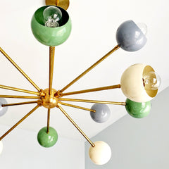 Green, Cream, and Grey midcentury modern inspired chandelier by Sazerac Stitches.  Sputnik style ceiling chandelier is perfect for kids bedrooms, midcentury modern decor, etc.