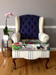 hayward modern traditional wingback chair navy and floral with stripes