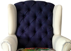 hayward modern traditional wingback chair navy and floral with stripes tufted velvet