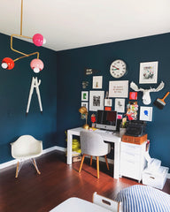 Navy Office with pink and orange modern chandelier