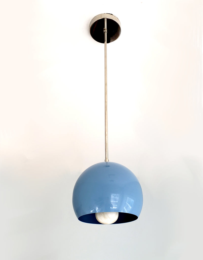 Chrome and Light blue mid century modern casual kitchen globe lighting