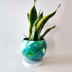 Large Blue-Green Marbled Planter with Marble Base