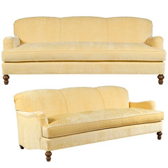 Yellow english roll arm traditional styled velvet sofa in luxurious velvet fabric