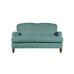 Aqua english roll arm traditional styled velvet love seat in luxurious velvet fabric