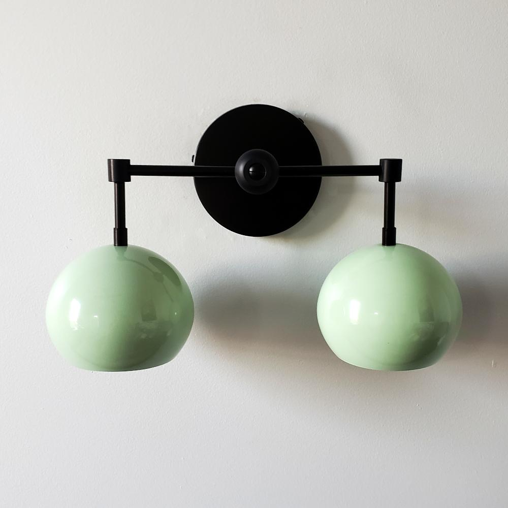 Mint and matte black two light mid century modern wall sconce light