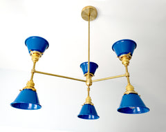blue and brass midcentury inspired chandelier modern lighting home decor