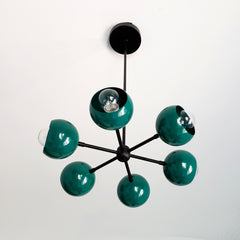Green and Black modern globe chandelier by Sazerac Stitches