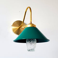 Bright Green and Brass farmhouse style wall sconce