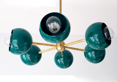 green and brass midcentury modern inspired flushmount ceiling light fixture