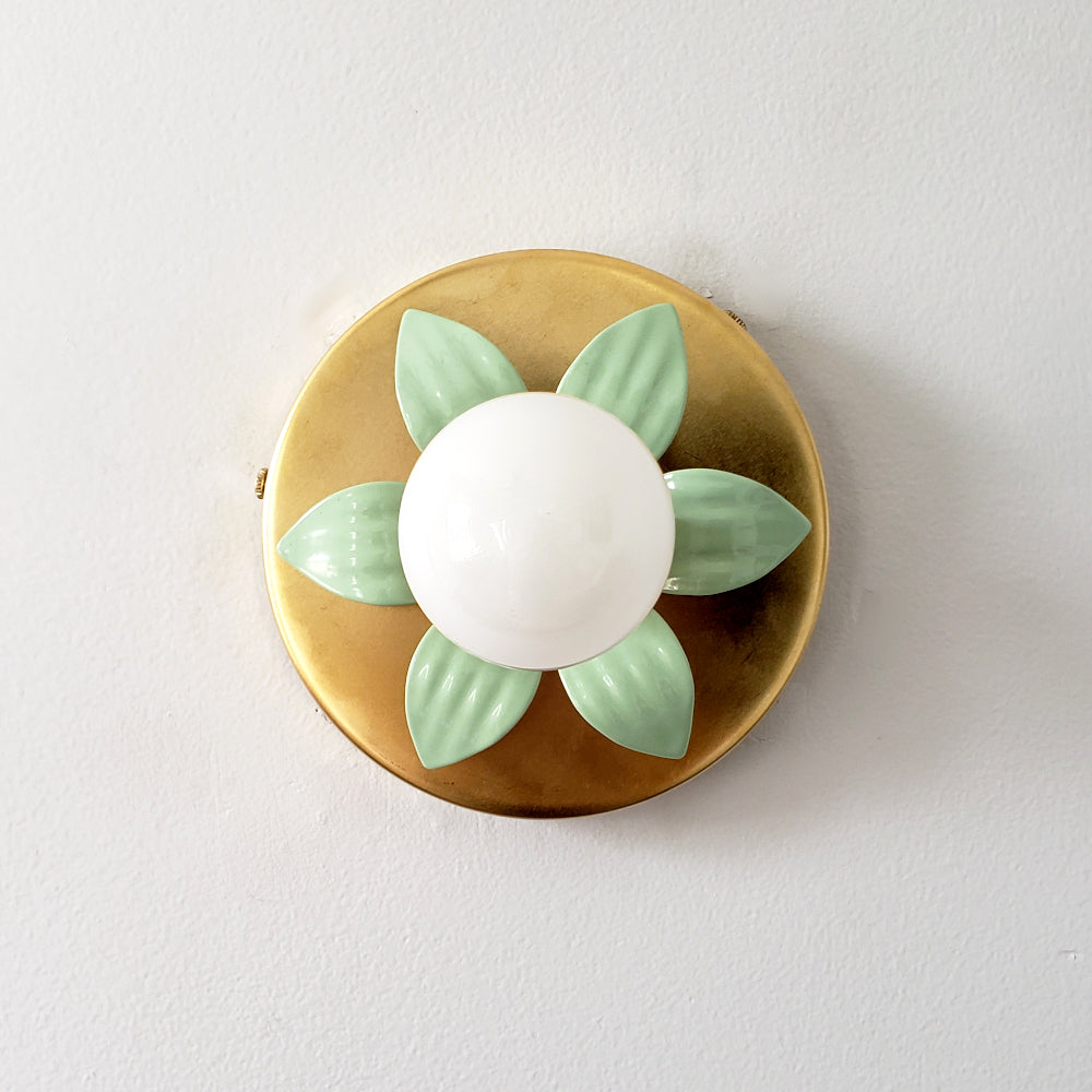 mint and brass floral wall sconce modern lighting nursery kidsroom design
