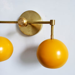 Mustard and Brass two light modern fall colors wall bathroom lighting