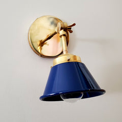 Navy and Brass adjustable cone wall sconce by sazerac stitches