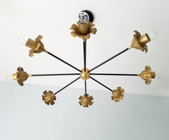 black and brass floral chandelier art decor modern lighting