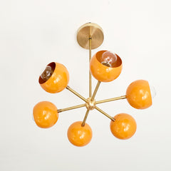 Orange and Brass mid century modern small chandelier