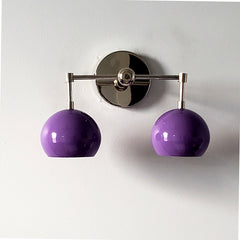 Chrome and purple midcentury modern two light wall sconce for bathroom renovations