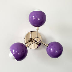 Orchid purple and chrome midcentury modern inspired globe lighting fixture childrens decor