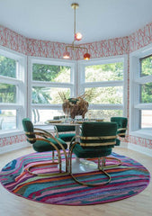 Colorful Dining room in pinks and greens