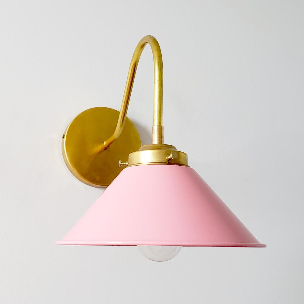 pink and brass farmhouse modern sconce in fun light pink color and brass.  Great kids room or nursery lighting decor idea.