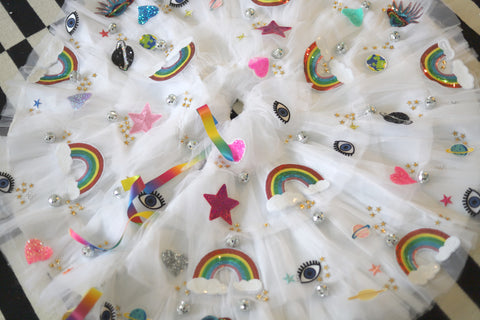 "Rainbow Space Disco Christmas Tree Skirt 48"" diameter"