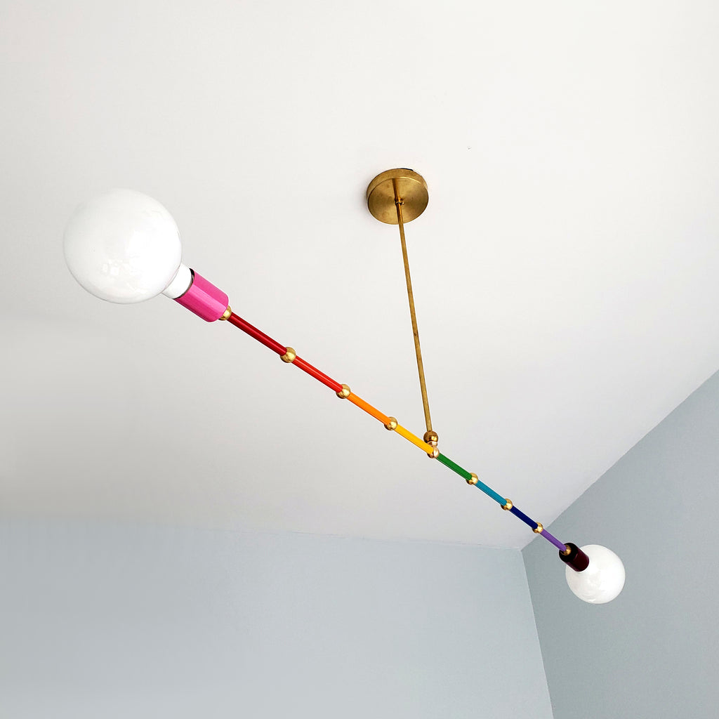Linear Rainbow chandelier with colorful transition