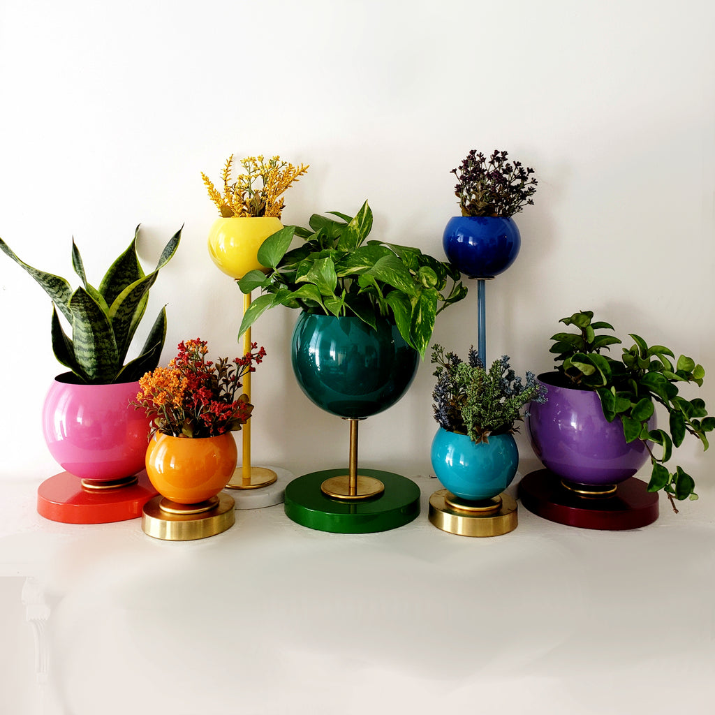 Rainbow collection of planters and vases for weddings, pride parties, rainbow tablescape decor, etc