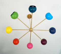 rainbow colorful mid century retro chandelier brass chrome