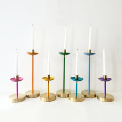 Rainbow candle holders with brass accents