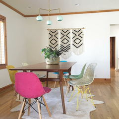 Neo Mint and Brass chandelier with midcentury modern accents in a dining room design