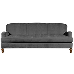 Charcoal Grey english roll arm traditional styled velvet sofa in luxurious velvet fabric