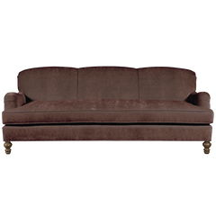 Chocolate english roll arm traditional styled velvet sofa in luxurious velvet fabric