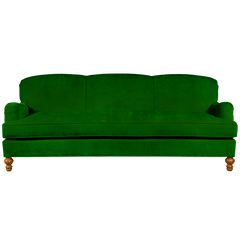 Emerald green english roll arm traditional styled velvet sofa in luxurious velvet fabric