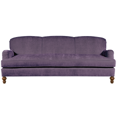 lilac english roll arm traditional styled velvet sofa in luxurious velvet fabric
