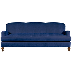 royal blue english roll arm traditional styled velvet sofa in luxurious velvet fabric