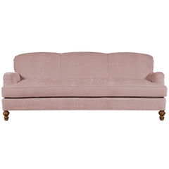 pink quartz english roll arm traditional styled velvet sofa in luxurious velvet fabric
