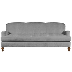 dove grey english roll arm traditional styled velvet sofa in luxurious velvet fabric